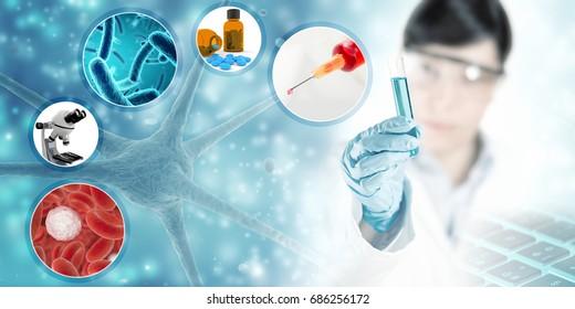 scientific research concept background, 3D illustration
