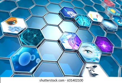 scientific research concept hexagonal backdrop, 3d illustration