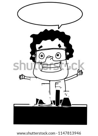 Scientist Cartoon Characters Tubes Speech Bubble Stock Illustration