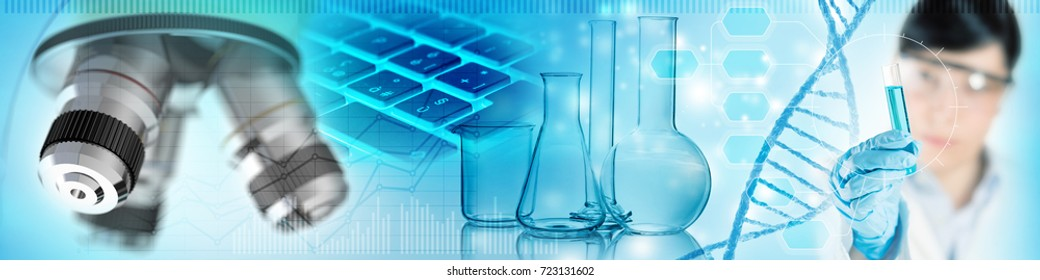 scientist, chemical glassware and microscope, 3d illustration
