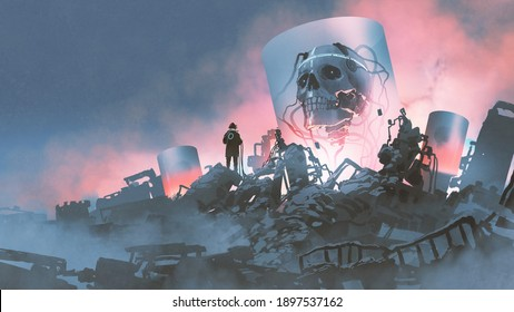 a scientist creating a giant creature in the destroyed lab, digital art style, illustration painting