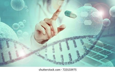 scientist finger pointing a capsule hologram, 3d illustration