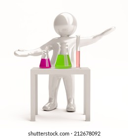 Scientist in his lab, 3d man trying out chemical compositions, or experimenting, white background, scientific and innovation concept.