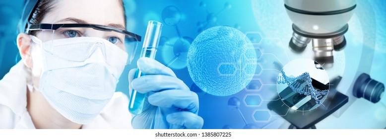 scientist holding a test-tube and microscope analyzing DNA, 3d illustration