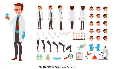 Scientist Man. Animated Character Creation Set. Full Length, Front, Side, Back View, Accessories, Poses, Face Emotions Hairstyle Gestures Isolated Illustration