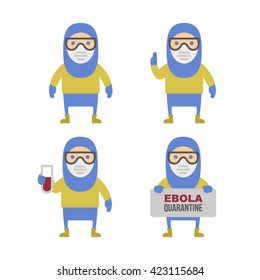 Scientist in Protective Yellow Gear. Cartoon Style Illustration Set