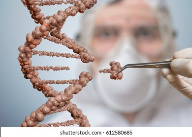 Scientist is replacing part of a DNA molecule. Genetic engineering and gene manipulation concept. 3D rendered illustration of DNA.