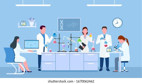 Scientists in lab. Scientist people wearing lab coats, science researches and chemical laboratory experiments. Chemistry laboratories, microbiology research. illustration in flat style. raster version