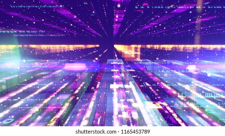 A sci-fi 3d illustration of a dazzling colorful space configuration resembling a set of lengthy columns forming a holographic time tunnel for hi-tech spaceships in the violet background.