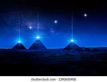 Sci-fi 3D render or illustration of Egyptian pyramids at night shooting light rays from the tips against a star-filled sky. Alien  contact