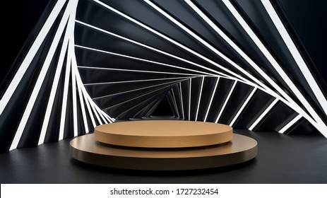 Sci-fi abstract scene with golden round stage, pedestal or podium in hi-tech tunnel interior with bright lights in dark room. Background for placing your product or object. 3d illustration