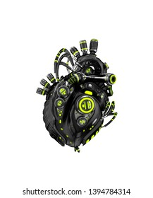Sci-fi artificial heart 3d rendering