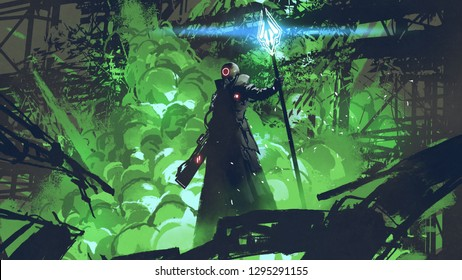 sci-fi character in black cloak with light spear standing against green explosion, digital art style, illustration painting