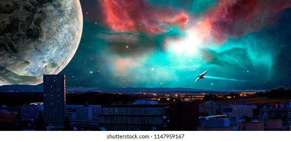 Sci-fi city with nebula, planet and spaceships, photo manipulation