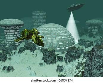 Sci-fi city under the sea