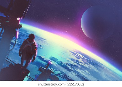 sci-fi concept of the man looking at a surface of the earth from a space,illustration painting
