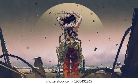 scifi concept showing back view of futuristic woman wearing a spacesuit, digital art style, illustration painting