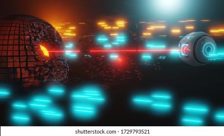Sci-fi cosmo battle future. Space battle. 3d render.