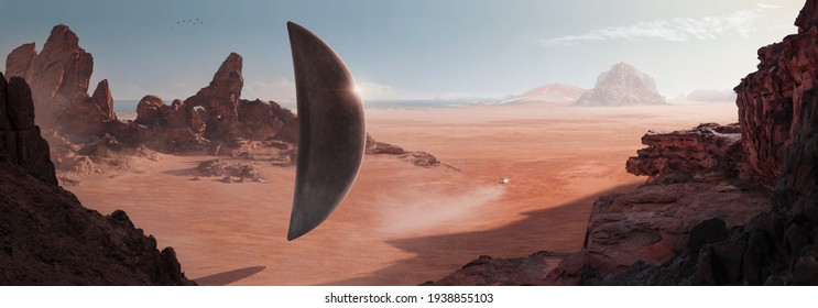 SCI-FI in the desert with a monolith-shaped spaceship (alien) resting on the surface of the desert and another small ship heading towards the horizon - Illustration 3d