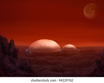 sci-fi digital illustration of dome shaped habitats on planet Mars