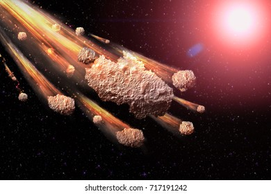 Sci-fi fantastic background - burning and exploding stars, asteroid impact, glowing horizon. Deep space. Attack of the asteroid. Scientific llustration. 3D illustration.