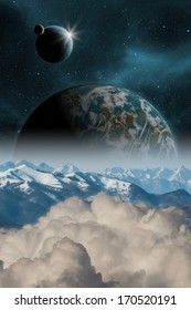 Sci-fi fantasy image of planets and space. Earth like planet rising. Vertical orientation great for books & magazines.