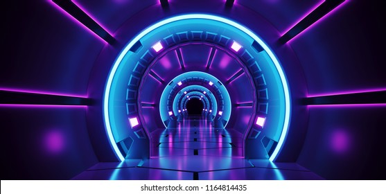 Sci-Fi Futuristic Abstract Gradient Blue Purple Pink Neon Glowing Round Corridor On Reflection Concrete Floor Dark Interior Room Empty Space Spaceship Technology Concept 3D Rendering illustration