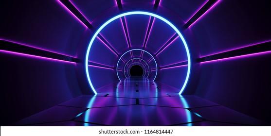 Sci-Fi Futuristic Abstract Gradient Blue Purple Pink Neon Glowing Round Corridor On Reflection Concrete Floor Dark Interior Room Empty Space Spaceship Technology Concept 3D Rendering illustration