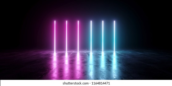 Sci-Fi Futuristic Abstract Gradient Blue Purple Pink Neon Glowing Tubes On Reflection Concrete Floor Dark Interior Room Empty Space Spaceship 3D Rendering Illustration
