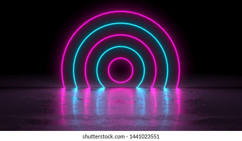 Sci-Fi Futuristic Blue Pink Neon Glowing Circle Round Shape Tubes On Reflection. 3D Rendering Illustration