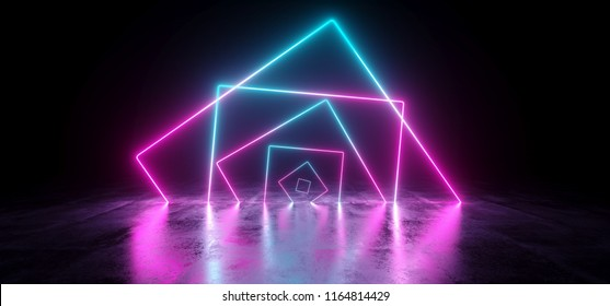Sci-Fi Futuristic Chaotic Abstract Gradient Blue Purple Pink Neon Glowing Rectangle Cube Square Shape Tubes On Reflection Concrete Floor Dark Interior Room Space Spaceship 3D Rendering illustration