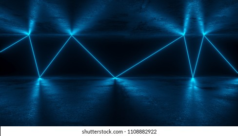 Sci-FI Futuristic Grunge Room With Chaotic Reflected Blue Neon Lights With Concrete Reflections. 3D Rendering Illustration