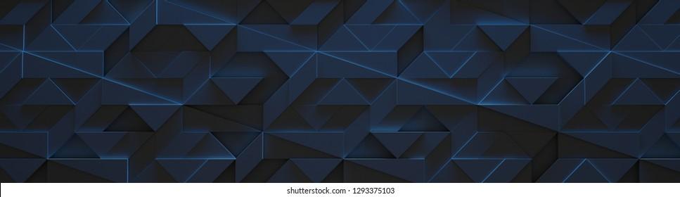 Sci-fi Geometric Background (Website Head) (3D Illustration)
