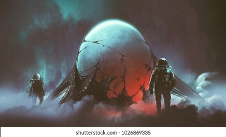 sci-fi horror scene of two astronauts found the mysterious alien egg, digital art style, illustration painting