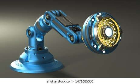 sci-fi incandescent lamp or futuristic medical equipment for laboratory. Isolated on dark background. 3D illustration