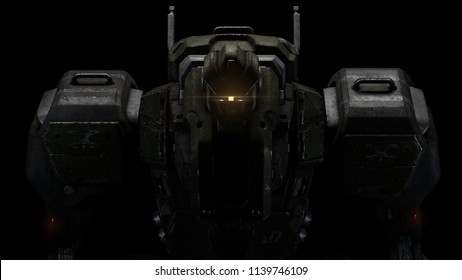 Sci-fi mech soldier on a black background. Military futuristic robot with a green and gray color metal. Scratched metal armor robot. Big robot mech with red luminous eyes. Front view. 3D rendering.
