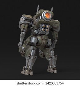 Sci-fi mech soldier standing on gray background. Military futuristic Robot Battle with a green and gray color scratched metal armor. Mechanical mech with a turbine controlled by a pilot. 3D rendering