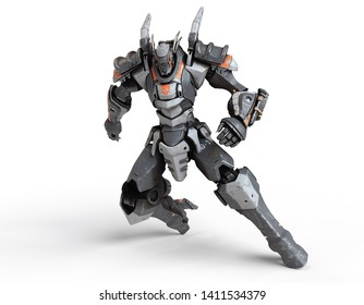 Sci-fi mech warrior clenched his hands into fists in fighting position. in a defensive pose. Futuristic robot with white gray color metal. Battle. Orange paint. 3D render on white background