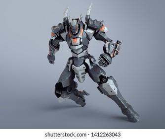 Sci-fi mech warrior clenched his hands into fists in fighting position. Mech in a defensive pose. Futuristic robot with white gray color metal. Mech Battle. Orange paint. 3D render on gray background.