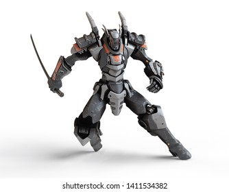 Sci-fi mech warrior holding a sword in his hand in fighting position. in defensive pose. Futuristic robot with white and gray color metal. Battle. Orange paint. 3D render on white background