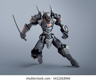 Sci-fi mech warrior holding a sword in his hand in fighting position. Mech in defensive pose. Futuristic robot with white and gray color metal. Mech Battle. Orange paint. 3D render on gray background