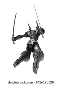Sci-fi mech warrior holding two swords in fighting position. Mech in a flying, jumping pose. Futuristic robot with white and gray color scratched metal. Mech Battle. 3D rendering on a white background
