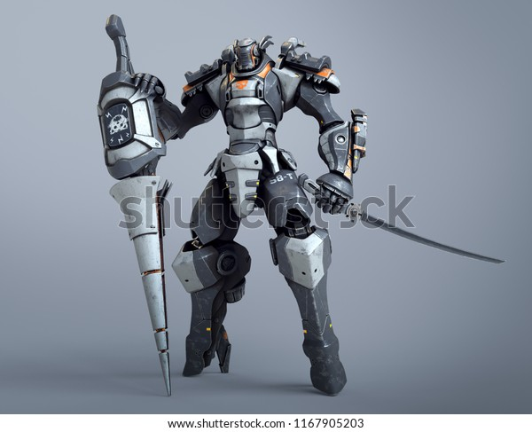 Scifi Mech Warrior Holds Large Lance Stock Illustration