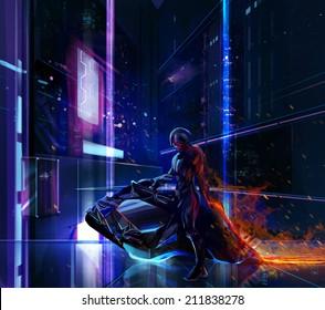 Sci-fi neon warrior on bike. Sci-fi neon warrior on futuristic bike with metal armor standing on a futuristic background.