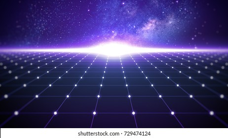 Sci-fi outer space grid retro background with copyspace for text placeholder.