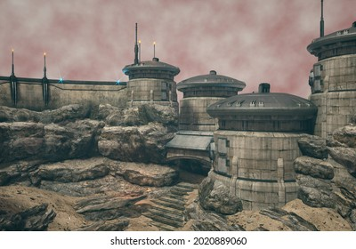 Sci-Fi outpost scenery 3d render