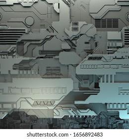 SciFi Panels. Futuristische Textur. Geometrisches Muster für die Außenhaut.  3D-Abbildung. Technologiekonzept.