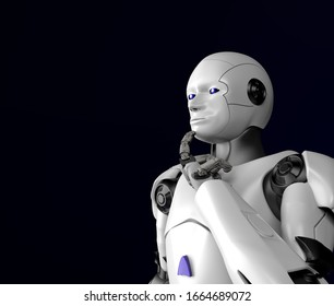 The sci-fi robot thinking,android on black background,3d render.
