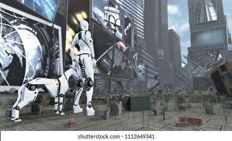 Sci-fi robot woman and cyborg dog on apocalyptic Time Square New York Manhattan. 3D rendering