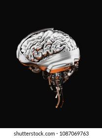 Sci-fi robotic brain organ, 3d illustration